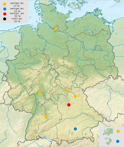 Karte mit den ersten Arbeitsorten unserer Studierenden nach dem Abschluss